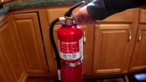 RV kitchen fire extinguisher