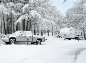 winter RVing in snow