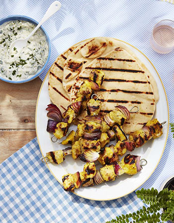 Grill Recipes Chicken and Onion Kebabs with Tzatziki Sauce