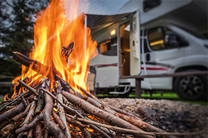 motorhome and campfire