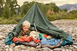 kid messing up tent