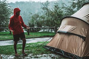 Tent is wet from rain