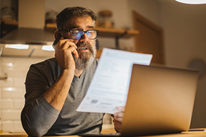 man calling rv insurance company