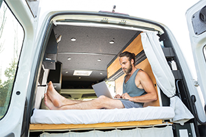 man researching RV insurance rates