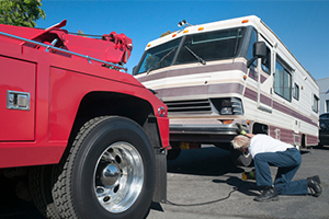 tow truck and rv flat tire