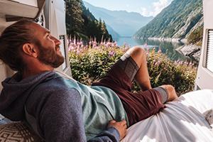 relaxing in a van