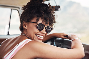 girl smiling van living